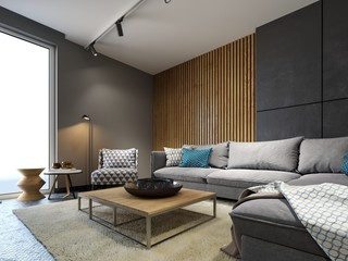 Contemporary living room in a loft style with a metal floor and wooden decorative wall and designer furniture.