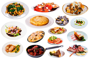 Collection of dishes isolated