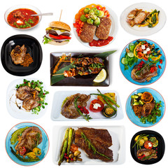 Set of dishes with cooked fried pork and beef  with different vegetables