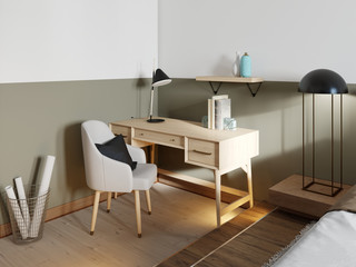 Wooden desk with a chair in a modern loft style apartment.