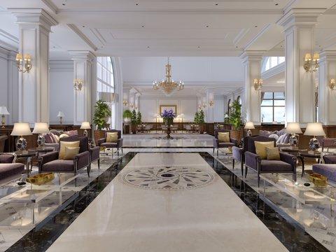 Luxury hallway reception in classic hotel interior.