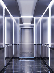 Futuristic design of an elevator cabin with mirrors with neon illumination and metal panels. Modern elevator design. Reflection to infinity.