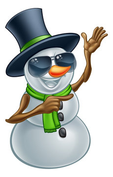 A cool snowman Christmas character wearing a top hat and sunglasses or shades pointing his finger at something
