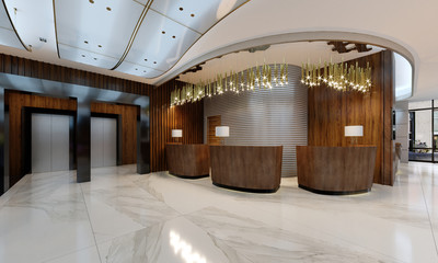 Reception area in a modern hotel with wooden reception counters and large pendant gilded chandeliers.