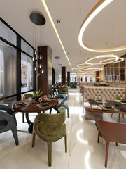 Luxury restaurant in contemporary style with exquisite modern furniture and designer listroy with hidden lighting. Brand interior design of the restaurant.