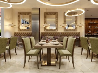 The modern conceptual interior design of the restaurant is in contemporary style with classic elements.