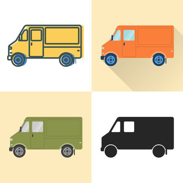 Step van food truck icon set in flat and line styles