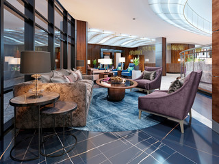 Contemporary hotel interior design, hotel lobby, rest area with comfortable modern furniture.