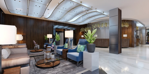 Lounge area of a hotel, design lobby.