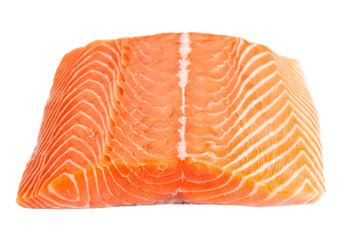 salmon steak isolated on white background