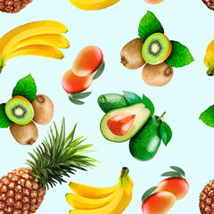 Pattern with exotic fruits on a light background.