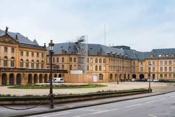Metz, FRANCE - April 1, 2018: Street view of downtown in Metz, France