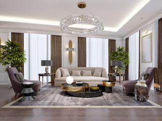 Design of luxury apartments in modern style with designer furniture and large curtains.