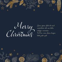 Vintage vector handdrawn Christmas card