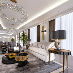 Luxury apartments in the hotel with a living room and dining room, sofa, bed, TV stand, dining table, classic interior with white walls.