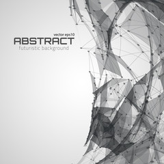 Abstract futuristic background with dots, lines and triangles. Vector illustration.