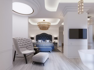 Modern design Suite with elegant furnishings and an open bathroom and bedroom.