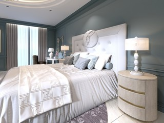 The modern design of the bedroom with a large white bed and a stool with a dressing table nearby. dark walls light furniture, white marble floor.