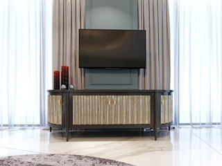 Sideboard with a TV against the wall in a modern classic style.
