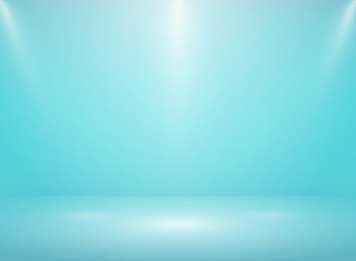 Abstract gradient soft blue studio room background with lights.
