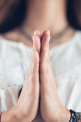 Close Up Female Hands Prayer