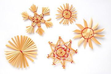 various stars of straw isolated over white background
