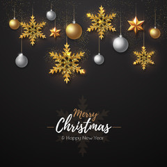 Christmas poster with golden snowflakes. Christmas greeting card