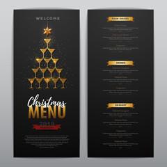 Christmas menu design with golden champagne glasses. Restaurant menu. Pyramid of champagne glasses