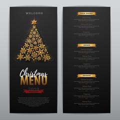 Christmas menu design with golden christmas tree. Restaurant menu.