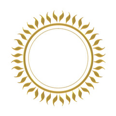 Gold effect sun mandala isolated on white background. With chiselled effect fancy edge.