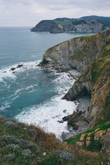 the cliff and ocean in the coast