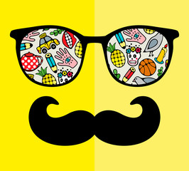 Abstract face of man in glasses with moustaches.