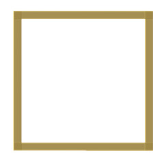 Simple gold frame isolated on white background. Square shape.