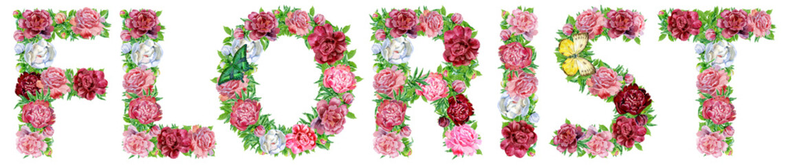Word FLORIST of watercolor flowers for decoration