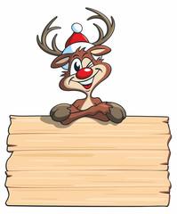 Cartoon, Rudolf das Rentier über Holztafel
