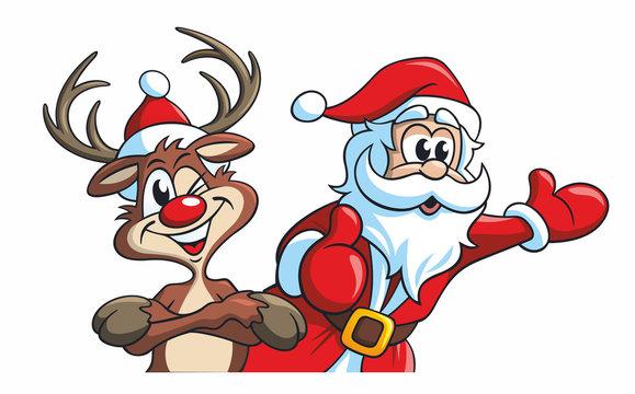Cartoon, Rudolf das Rentier und Santa, der Weihnachtsmann