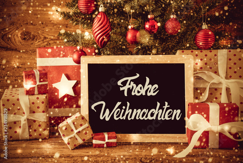 Bright Tree, Gifts, Calligraphy Frohe Weihnachten Means Merry ...