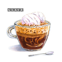 An illustration of a coffee glace with two balls of vanilla ice cream in a glass cup. Colorful sketch of a delicious delicate coffee drink. Drawn by professional markers.