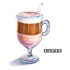 Illustration of a latte with milk foam at the top, a coffee strip in the middle and milk at the bottom of a glass goblet. Colorful sketch of tasty sweet coffee drink. Drawn by professional markers.
