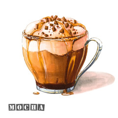 Illustration of mocha coffee with whipped cream, chocolate and caramel syrup, sprinkled with chocolate chips in a glass cup. Colorful sketch of tasty sweet coffee drink. Drawn by professional markers.