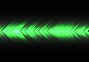 Abstract green light arrow speed direction on black design modern futuristic technology background vector illustration.