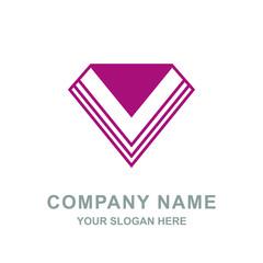 Red Diamond Letter V Geometric Logo