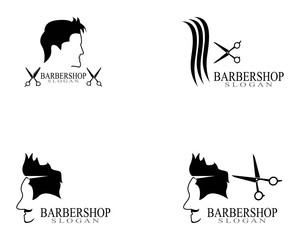 Barbershop icon logo template vector