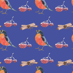 Pattern with bullfinch for New Year on violet background