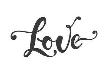 love hand drawn lettering, vector illustration