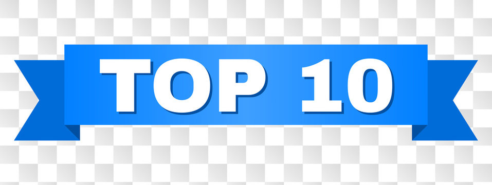 TOP 10 text on a ribbon. Designed with white caption and blue stripe. Vector banner with TOP 10 tag on a transparent background.