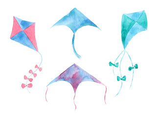 Collection of watercolor kites.