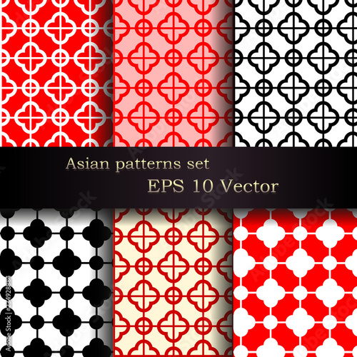 Vector Set Of Seamless Asian Patterns Stock Image And Royaltyfree Best Asian Patterns