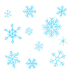 Collection of blue Christmas snowflakes, modern flat design. Can be used for printed materials.  Winter holiday background. Hand drawn design elements. Festive stickers card.