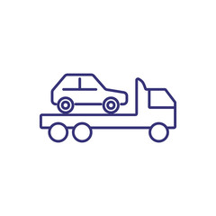 Tow truck line icon. Vehicle, wrecker, emergency. Car service concept. Can be used for topics like breakdown, accident, roadside assistance, no parking